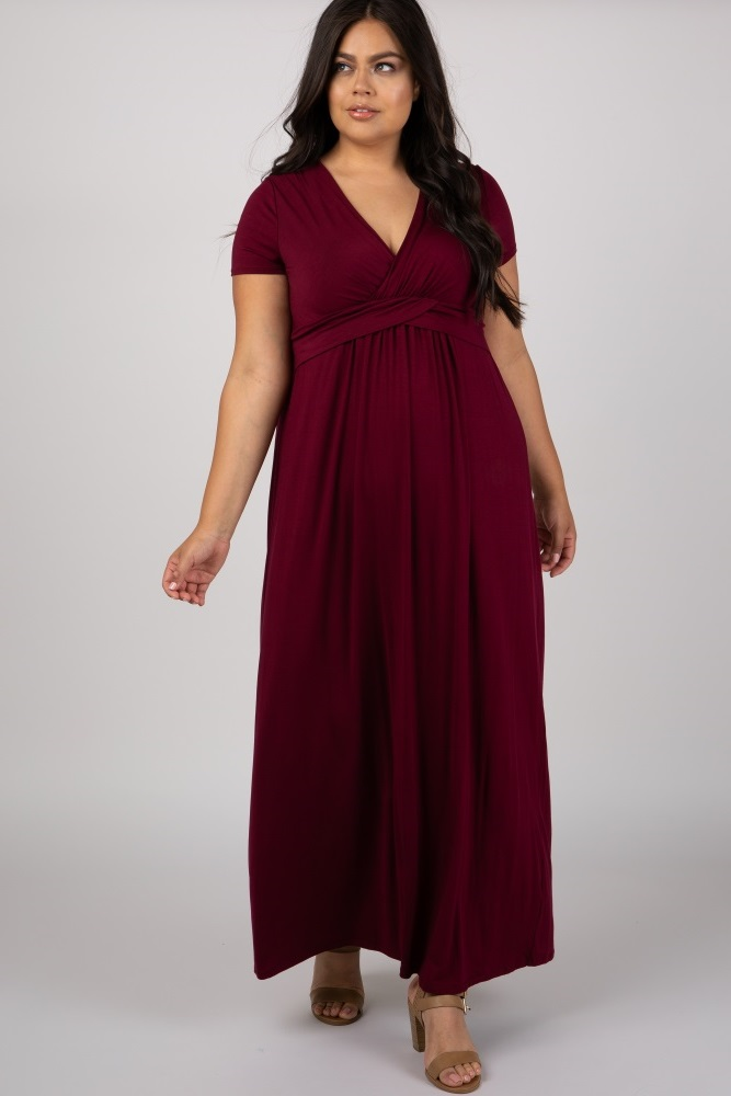 Plus Size Burgundy Maternity Maxi Dresses - Maternity Plus ...
